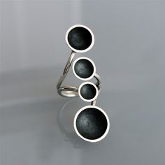 Contemperan ring 4 cups oxidized handmade in by ANDREA SCHIFFLER-DE-ES