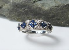 Blue Sapphire and Diamond Sterling Silver by MichelleJesmain, $395.00