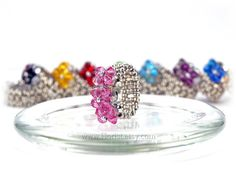 SALE Handwoven Swarovski Crystal Ring, Pink, Silver, girls, teens jewelry, for prom, cute, sweet friendship ring