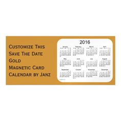 2016 Gold Calendar by Janz 9x4 Magnet Magnetic Invitations