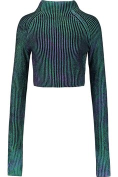 SELF-PORTRAIT Cropped iridescent ribbed-knit sweater. #self-portrait #cloth #sweater