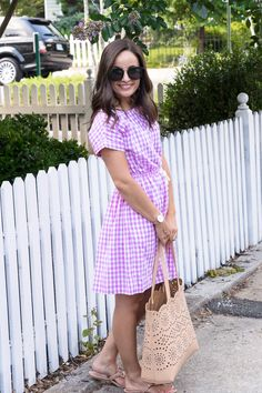 Crew Gingham Shirt Dress Styled - Pumps & Push-Ups Summer Fashion For Teens, Summer Fashion Outfits, Spring Fashion, Women's Fashion, Fashion Pants, Fashion Women, Fashion Shoes, Gingham Dress, Gingham Shirt