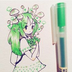 green is my favorite colour Kawaii Drawings, Cute Drawings, Beautiful Drawings, Pretty Art, Cute Art, Arte Sketchbook, Poses References, Dibujos Cute, Cartoon Art Styles