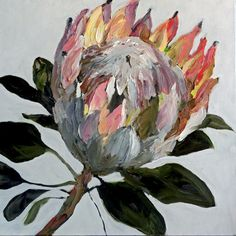 Protea - Oil on canvas painting Abstract Flower Art, Art Oil, Abstract Oil, Art Painting, Painting, Protea Art, Oil Painting, Oil Painting Abstract, Abstract