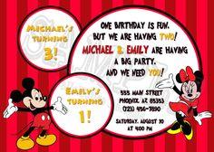 BIRTHDAY INVITATION - Mickey & Minnie Mouse Birthday Party invitation on treasure map on Etsy, $8.25