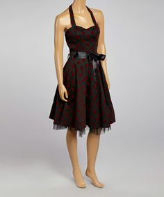 Another great find on #zulily! Black & Red Polka Dot Ribbon Halter Dress by HEARTS & ROSES LONDON #zulilyfinds