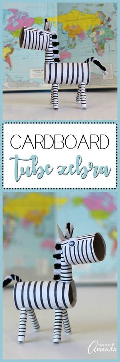 This super duper cute cardboard tube zebra is made using a cardboard paper towel tube. A great zoo themed recycled project for kids!