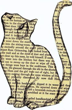 cat art / cat art _ cat art drawing _ cat art illustration _ cat art painting _ cat art whimsical _ cat artwork _ cat art print _ cat art projects for kids Book Page Art, Book Art, Art Of Books, Altered Books, Altered Art, Journal D'art, Journals, Newspaper Art, Cat Crafts