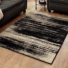 Better Homes and Gardens Black Shaded Lines Olefin Area Rug