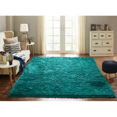 Make your home look more elegant and decked up with this Chesapeake Merchandising Microfiber Shag Teal Area Rug. Teal Rug, Turquoise Rug, Teal Area Rug, Teal Living Rooms, Rugs In Living Room, Living Room Decor, Living Spaces, Teal Carpet, Area Rug Sizes