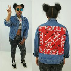Egyptian Backpatch Jean Jacket Large Vintage by TheCosmicCircle