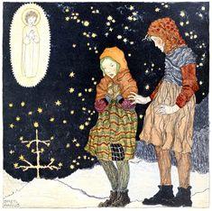 By Gretl Hanuz, Christmas art by children, 1922 Christmas Pictures, Christmas Art, Vintage Christmas, Christmas Angels, Artists For Kids, Art For Kids, Facebook Art, Canadian Art, Children's Picture Books