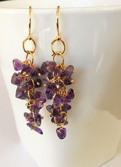 A personal favorite from my Etsy shop https://www.etsy.com/ca/listing/534588991/amethyst-beaded-cluster-drop-earrings