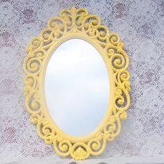 yellow mirror vintage 70's syroco 25x17 fleur by CrabApplCreations, $69.95