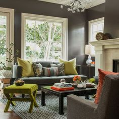 Grey Green Orange Living Room Design Ideas, Pictures, Remodel, and Decor