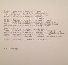 ee cummings i carry your heart poem typed on by farmnflea on Etsy, $20.00