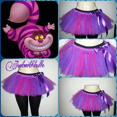 Natalie - easy to make tulle skirt for the cheshire cats. Costume Chat, Cat Costumes, Disney Costumes, Alice Halloween, Family Halloween, Cheshire Cat Costume Kids, Gato Alice, Hallowen Costume, Costume Ideas
