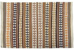 """Rare Very Large Antique Navajo Rug, 7'11 x 6'8"""" with Corn Row pattern in orange, blue, brown, and cream on @One Kings Lane"""