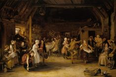 Wilkie chose to depict a type of marriage ceremony, common in Scotland, where the guests each paid a penny towards the expenses and anything left over went towards the couple's new home. The subject was already known, having been treated by David Allen (1744-96) in a painting in Beaverbrook Art Gallery, Fredericton, New Brunswick. The idea of the subject would seem to be that no richer couple could be happier, more loving, gracious and handsome, and no father of the bride could offer…