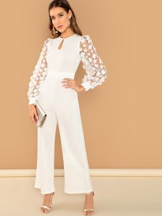 Shop Applique Sheer Sleeve Keyhole Front Jumpsuit at ROMWE, discover more fashion styles online. Jumpsuit Hijab, Bridal Jumpsuit, Jumpsuit Outfit, Jumpsuit With Sleeves, Hijab Dress Party, Fashion Dresses, Casual Dresses, Classy Dress, Jumpsuits For Women
