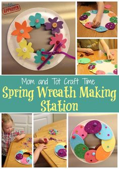 Toddler Approved!: Mom and Tot Craft Time: Spring Wreath Making Stati...