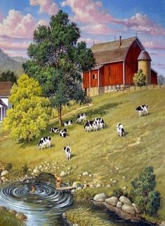 Barn, Cows & Kids Swimming...Painting  Reminds me of Iowa :)