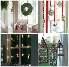 Quand vous décorez pour Noël 2015, n'oubliez pas de décorer le manteau de cheminée, la porte d'entrée et les fenêtres.Voici des idées pour les fenêtres: