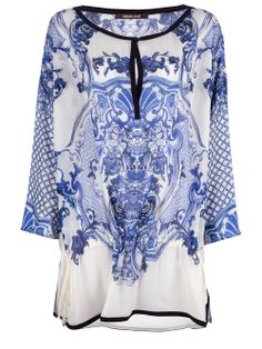 Roberto Cavalli Printed Top in White | Lyst
