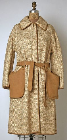 Ensemble by Bonnie Cashin, spring/summer 1973, wool tweed with leather trim for Sills label.