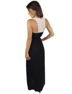 Black Maxi Dress With Crochet Back – Arlington