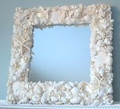 beach decor, nautical decor, seashell mirror, shell mirror, white shell mirror, white seashell mirror, starfish, sand dollar, white starfish