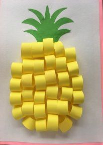 Pineapple crafts for my kids Daycare Crafts, Paper Crafts For Kids, Diy For Kids, Diy And Crafts, Arts And Crafts, Kids Fruit Crafts, Diy Paper, Children Crafts, Art N Craft