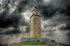 Tower of Hercules is an ancient Roman lighthouse. the structure is 180 ft. tall and overlooks the North Atlantic.  It is almost 1900 year old and is the oldest roman lighthouse used as a lighthouse