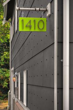 hanging address signage