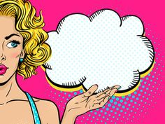 Sexy surprised young woman with open mouth and blonde curly hair looking at empty speech bubble. Vector bright background in pop art retro comic style. Fiesta Pop Art, Pop Art Party, Art Party Invitations, Party Favors, Farmasi Cosmetics, Pop Art Women, Blonde Curly Hair, Pop Art Illustration, Bright Background