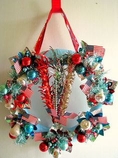 4th of July Wreath -- Needs a lot of work, but it's a good starting place