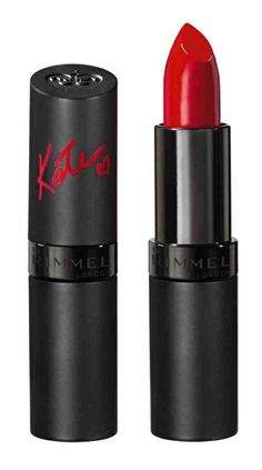Kate Moss for Rimmel lipstick in #01. Classic red lipstick. Satin finish. Not cherry or orange red. It's a little on the deeper side. This will work for any skin color as long as any redness in the face is neutralized.