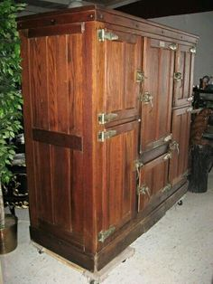 VINTAGE ANTIQUE COMMERCIAL OAK COOLER ICE BOX REFRIGERATOR MODEL 120 RARE FIND! #McCray