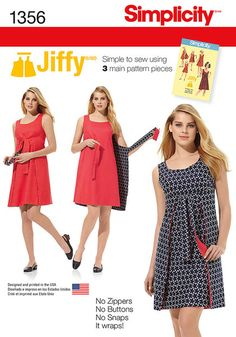 Misses' Vintage 1970's Jiffy® dress has three main pattern pieces for easy construction. Easy tie dress is also reversible. No Zipper. No Buttons. No snaps. It just wraps!