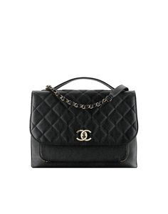 Flap bag with top handle, grained calfskin & light gold metal-black - CHANEL