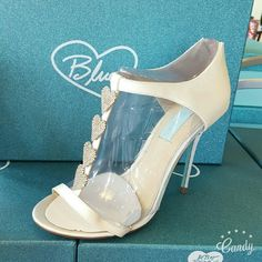 """SALE! Betsey Johnson Heart Heels Betsey Johnson white satin Heels Style SB - FAVOR Heel 4.5"""" Rhinestone hearts up strap Gorge baby blue soles Great for all occasions: prom, wedding, anniversary, going out Betsey Johnson Shoes Heels"""