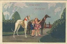 Greyhound and children, old postcard