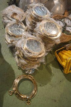 Brass round Portholes stocks