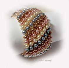 beaded bracelet  Pastel Pearl free shipping worldwide by Beadamor on Etsy