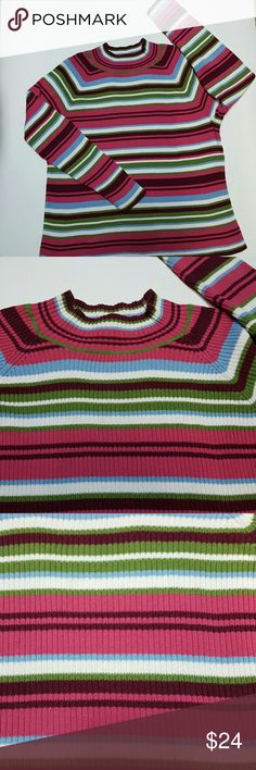 Sweater Colorful Stripes Izod Woman 2X Pink Green Gorgeous Colorful Sweater// Size 2X Izod Brand// Very Soft 100% Cotton// Pink, Baby Blue ,Olive Green,White, Maroon Excellent Condition! Izod Sweaters