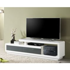 Meuble TV laqué blanc et gris pas cher. Comforium