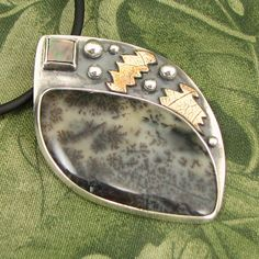"""Dendritic Opal - """"A Light for your Feet"""" Sterling Pendant with Mother of Pearl and textured brass - OOAK by marybird on Etsy"""