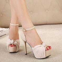 Bowknot Peep Toe High Stiletto Heel Platform Sandal on Luulla Stilettos, Stiletto Heels, Pumps, Fancy Shoes, Crazy Shoes, Cute Shoes, Killer Heels, Bridesmade Hair, Beige Sandals
