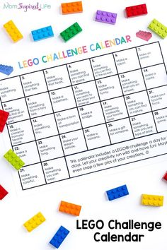 Awesome LEGO Challenge Calendar A month long LEGO challenge calendar to inspire kids with creative, open-ended building ideas!A month long LEGO challenge calendar to inspire kids with creative, open-ended building ideas! Lego Activities, Craft Activities For Kids, Projects For Kids, Cool Lego, Awesome Lego, Totally Awesome, Lego Therapy, Lego Challenge, Lego Club