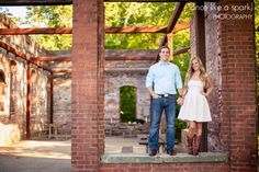 brick walls, ruins, whittier mill photos, striking backgrounds, beautiful couple, love and laughter, romance, engaged :: Katie + Michael's Engagement Shoot at Whittier Mill Park in Atlanta GA :: with Jen